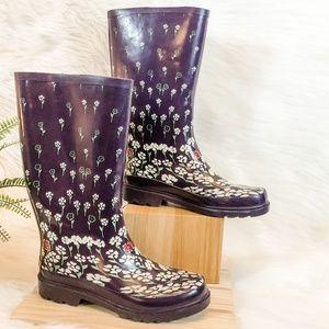 143 Girl White Floral Purple Rain Boots